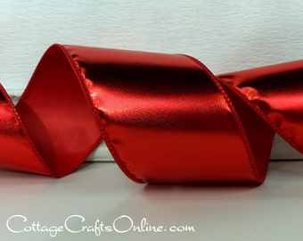 """Wired Ribbon, 2 1/2"""",  Red Gloss Metallic - THREE YARDS - Offray """"Patina"""", Christmas, Valentine's Day Craft Wire Edged Ribbon"""