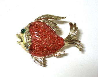 Vintage Fish Brooch with Red Glitter Belly, fish pin, green eye, gold tone, gift idea, Excellent