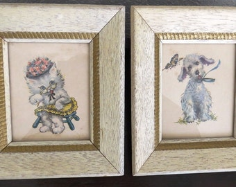 1950s Dog and Cat Pictures by Donald Art - Set of 2 - Dime Store Art Work - White Wood Frames - Country Shabby Chic - Childrens Room Decor