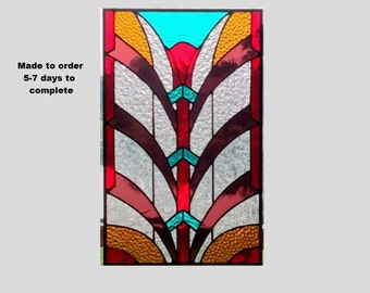 Made to order Stained glass window panel Art Deco red teal purple amber stained glass panel window hanging suncatcher