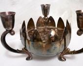 Vtg Candelabra Bowl with Metal Floral Frog for Fresh Flower Arrangements/Wedding Decor/Centerpieces/UpCycling/RePurposing/MetalWare/Lotus