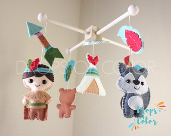 Baby Mobile, Native American, Indian Mobile, Native Tribal Crib Mobile, Teepee, Eagle, Bear, Wolf, Felt Arrows and Feathers, Nursery Decor