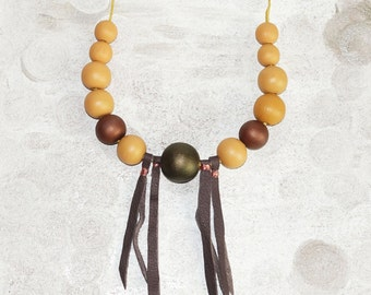 Mustard yellow wood - army green wood necklace - leather fringe necklace fashion - 5th Wedding Anniversary wood gift - hand painted jewelry