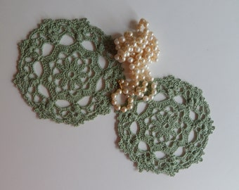 "Mini Crochet Doily Pair - Sage Green - Lacy Small Mini 6"" - Set of 2"