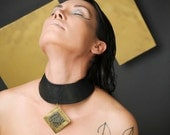 Leather Choker with Brass Square and Pyrite