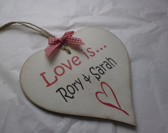 Personalised Valentine Gift Love is... add your names