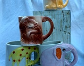 Vintage Ceramic Animal Mugs - Figural Animal Cups - Petite Animal Planters