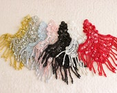 Beaded And Sequin Fringe Applique / Available in Black, White, Red, Blue & Pink / Vintage Flapper Style / Bridal / Fashion Design / Costume