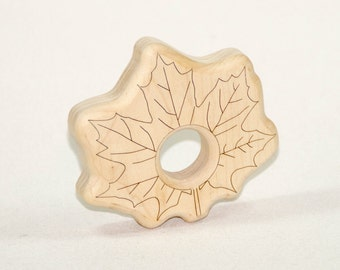 Wooden Baby Teether Maple Leaf Baby Teething Toy