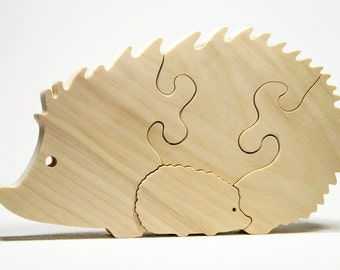 Hedgehog Puzzle Wood Baby Hedgehog Eco Friendly and Green for Toddlers and Children Personalized
