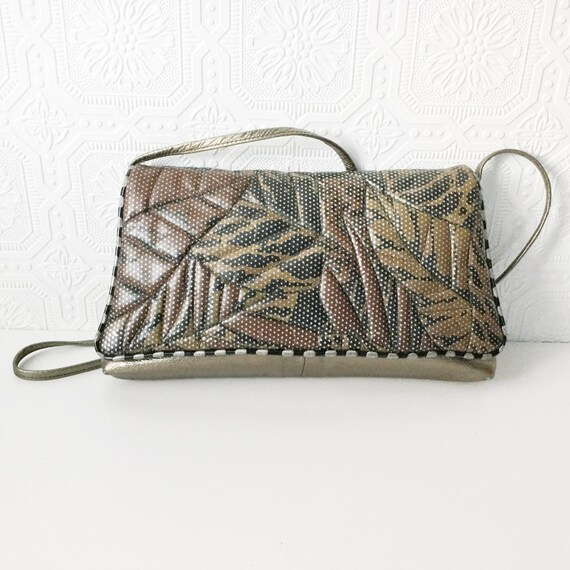 Silver Leather Crossbody Bag, Leaves and Stripes Purse, Metallic Quilted Envelope Handbag, Retro Clutch, by Colini Handbags, Vintage 1980's