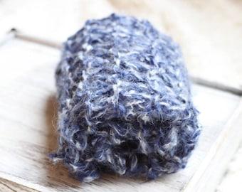 Bump Thick  Knitted Mohair Mini Blanket, Basket Filler, Photo Prop, Knitted Bump Blanket, Blue Denim Prop