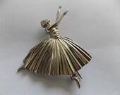 Vintage Silver Ballerina Brooch Pin Massingham Big  GORGEOUS