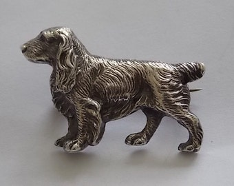 Vintage Silver Terrier Dog Brooch Pin Big  - BEAUTIFUL
