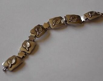 Vintage Silver Leaves Panel Bracelet CLASSIC