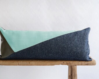 Lumbar Pillow Cover/Triangle/Aqua/Grey/Navy Blue/Grey Leather/Modern/Minimalistic/Stylish Accent Pillow/New Collection/Zigazag Studio Design