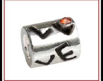 Stamped 925 - LOVE Tube with Red Crystal - Charm Bead - fits European Bracelets - MS-2356
