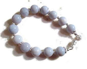 Blue Bracelet - Sterling Silver Jewelry- Agate Gemstone Jewellery - Beaded - Fashion
