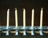 Christmas tree candles  clips, vintage candle clips, light blue, set of six