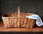 Old farm basket, vintage/antique splint wood basket