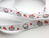 "3/8"" Grosgrain Ribbon with Cupcakes - White - 5 yards"