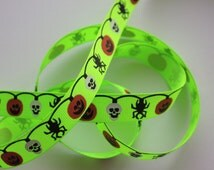 "5/8"" Halloween Ribbon - Decorative Grosgrain Ribbon - Neon Green - 2 Yards"