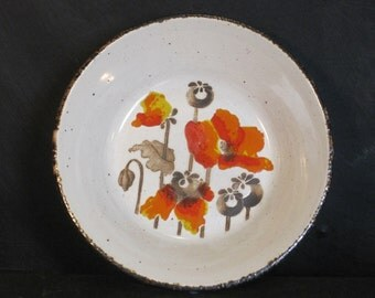 Vintage Set of Four Cereal  Soup Bowls Autumn Stonehenge Midwinter England Ironstone Bright Bold