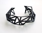 Triangulated Cuff bracelet in Black - Glossy Finish. 3d printed. modern statement jewelry. black geometric jewelry