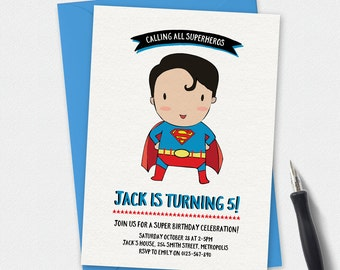 Birthday Invitation, Superman invitation, kids invitation, boys birthday invitation, Custom invitation, party invitation, superhero invite