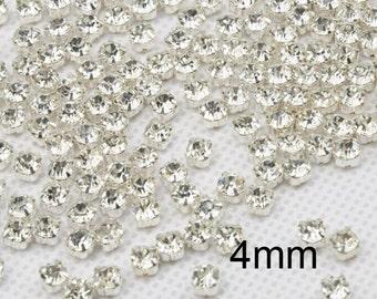300 Pcs 4mm Sew on Glass Rhinestones.Tiny Glass Rhinestones
