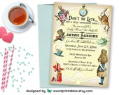 Alice in Wonderland Invitation, Baby Shower, Bridal Shower, Birthday Party, Tea Party, Printable Digital File by Event Printables