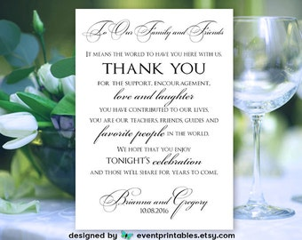 To Our Family and Friends Thank You Wedding Sign, Custom Printable Reception Place Card, Simply Elegant DIGITAL FILE by Event Printables