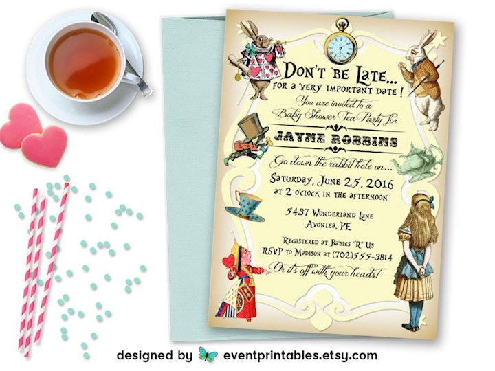 alice in wonderland invitation baby shower bridal shower, Invitation templates