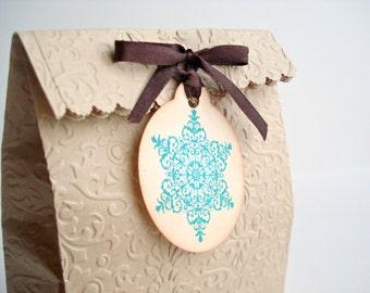 Snowflake Gift Tags, Christmas Favor Tags, Blue Snowflake, Etiquettes Cadeaux de Noel, Flocon de Neige, Round Gift Tags - Christmas Tags