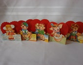 Super Cute Group Of Five Vintage Unused Valentine's Day  Cards with Boys Girls Puppy and Heart Opens and Stands 1940-50's A-Meri-Card