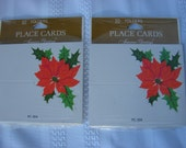 NOS American Greetings Christmas Poinsettia Dinner Place Cards Two Sets of Ten PC-304 1970's