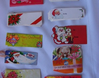 Great Lot of 133 Vintage Gift Tags/labels Santa/Poinsettia/Candles/Ornaments/Puppy 1950-1980's