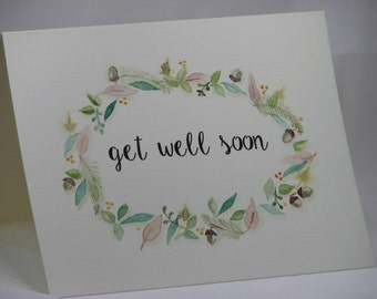 OOAK Handpainted Get Well Soon Greeting Card