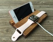 Charging Station, Docking Station for iPhone and Apple Watch, Wood, Personalized