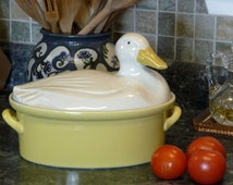 Hall Carbone Duck Casserole Covered Terrine 3 Quart Yellow & White Two Handles