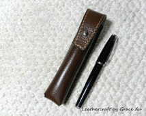 100% hand stitched handmade walnut brown cowhide leather case / holder / pouch for electronic cigarette / pen