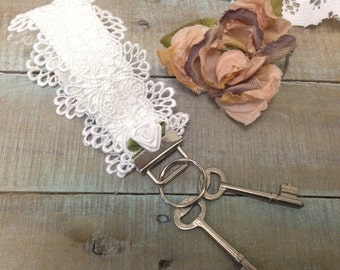 Lace Key fob wristlet, white lace and rosette   KF1   key chain, accessories, gifts, lanyard, car keys, handmade, lacy