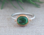 Emerald Green Tourmaline Ring. Tourmaline Ring. Mixed Metal Ring. Rose Cut Gemstone. Green Gemstone. Unique Ring. Alternative Engagement.