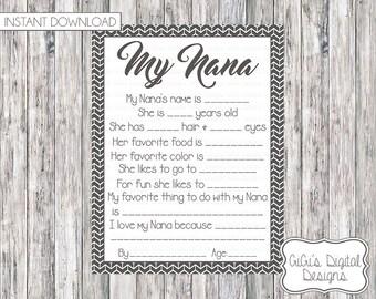 My Nana Survey, Nana Print, Mother's day questionnaire, Mother's Day Survey, Mother's Day Survey, Mothers's Day Gift, Mother's Day Present