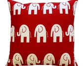 Animal Decor- Premier Prints Lipstick Red Elephant Pillow Cover- Choose Size- Zippered Pillow- Unisex Baby Nursery- Toddler Bedding