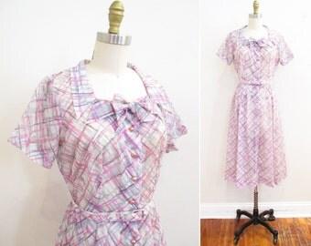 Vintage 1950s Dress | Charcoal Cross Hatch Print 1950s Party Dress | size small - medium