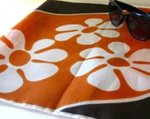 Mid Century MCM Scarf Orange Brown Flower Power 1960 Fashion Accessory
