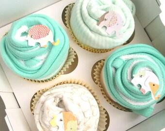 2 Bodysuits and 4 Washcloths Baby Gift Cupcake Set / / / Baby Shower Gift, New Baby Gift