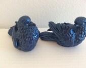 Pair Blue Doves -  Love Birds - Cottage Decor - Porch Patio Decor - Yard Art - Garden Decor - French Bird Decor Figurine -  Bird Statues