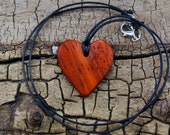 WOOD Necklace - Padouk - Wooden Heart Necklace - Wood Heart - Heart Necklace - Valentine's Day